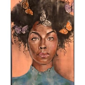 Obraz kobieta motyl