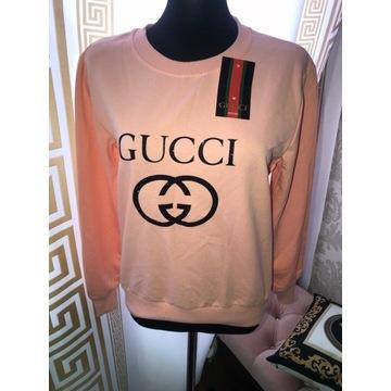 Bluza damska Gucci M hit różowa brokat napis