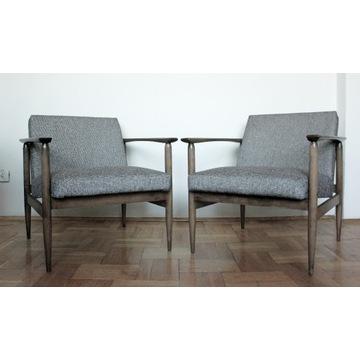 Kultowe fotele PRL drewniane z piekną tapicerką