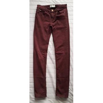 STRADIVARIUS bordowe spodnie jeansy r.34