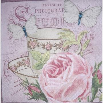 Serwetka decoupage 2 szt, róże, filiżanka, retro