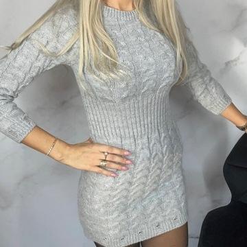 Sukienka, długi sweter szary