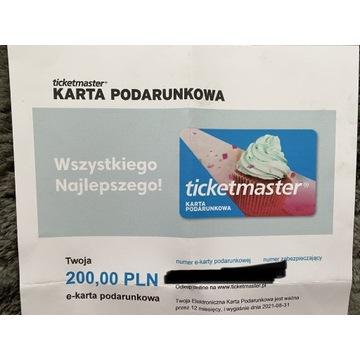 Karta Podarunkowa ticketmaster 200zł e-karta