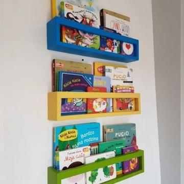 Półka na książki zabawki styl skandynawski KOLOR