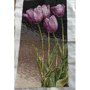Obraz hatowany krzyżykami - Tulipany