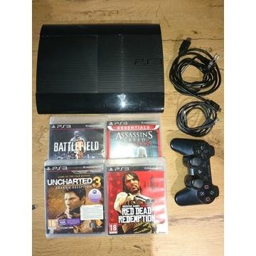 Playstaton 3 dysk 500gb + 2x pad +gry