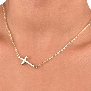 Naszyjnik Złoty Krzyż Krzyżyk Łańcuszek