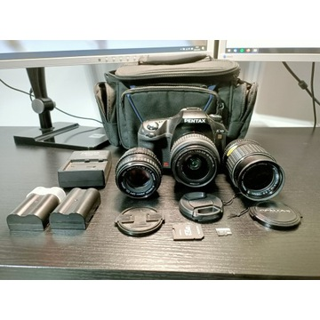 Pentax K10d 3x obiektw, karta SD, 2xbateria,torba