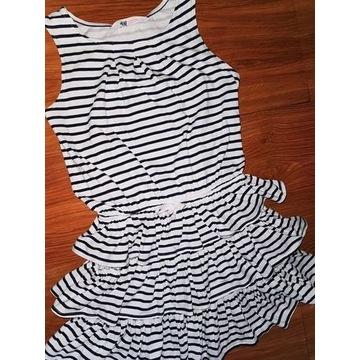 H&m super letnia sukienka falbany 134/140 pasy