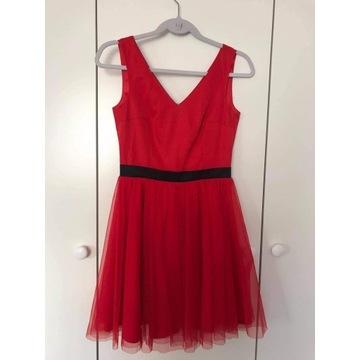 Sukienka S z tiulem rozkloszowana