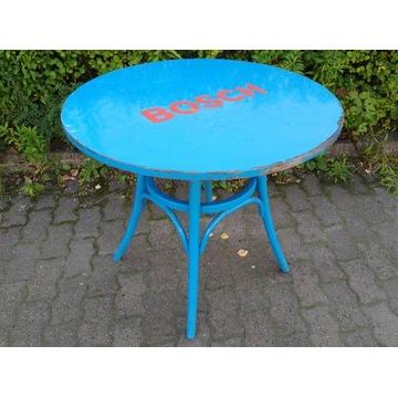 Stół drewniany okrągły niebieski śr. 90 wys. 76 cm