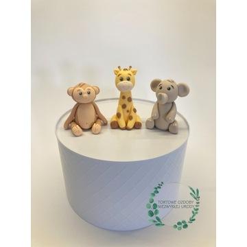 Zestaw safari figurki z masy cukrowej na tort