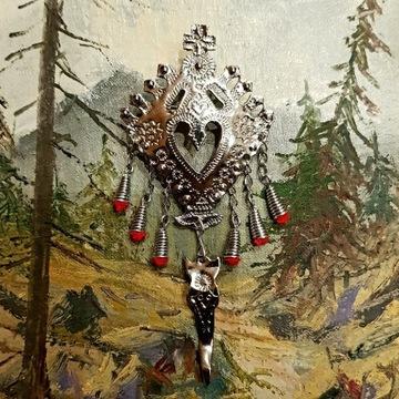Spinka góralska ręcznie robiona broszka parzenica