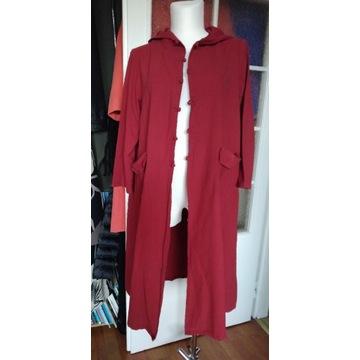 Kurtka/płaszcz/bluza długa, bordowa,Zanzea 4XL, 52