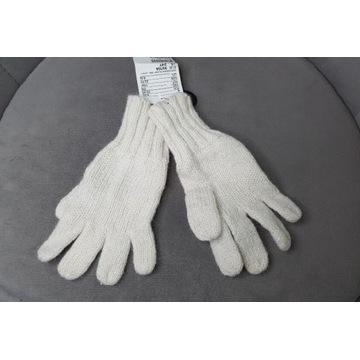 Rękawiczki NOWE  1,5-2L H&M 92 ecru nitka srebrna