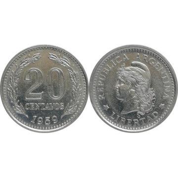 Argentyna 20 centavos 1959, KM#55