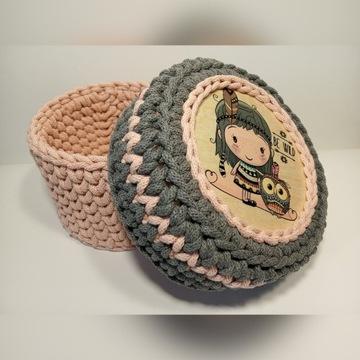 Koszyk/kuferek ze sznurka bawełnianego, handmade