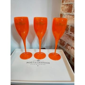 Pomarańczowe  smukłe kieliszki Moet nowość
