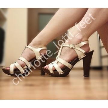 Sandały noszone używane fetysz stopy