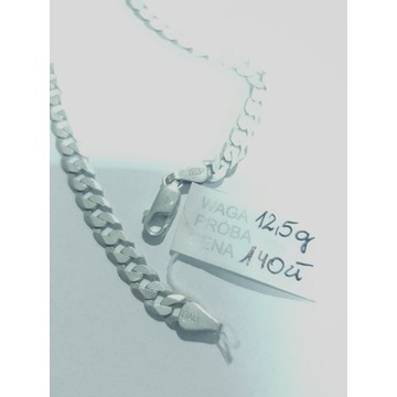 Pancerka 12,5 g srebro 925 naszyjnik męski 50 cm
