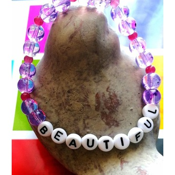 Bransoletka koraliki z dowolnym napisem jadeit