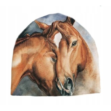 Czapka fasolka konie koń rożne wzory Unisize