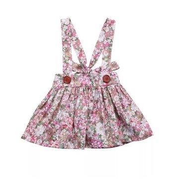 Spódnica Sukienka dziewczęca na szelkach Kwiaty 74