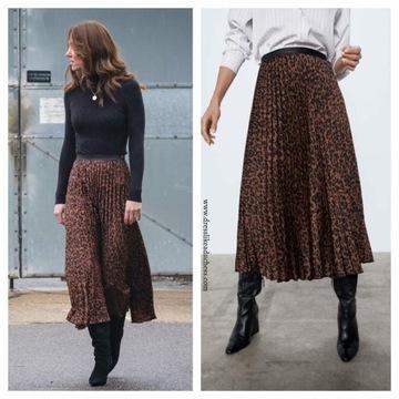 Spódnica Zara plisowana leopard kate middleton xl