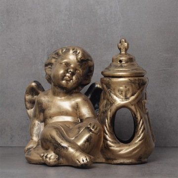 Znicz ceramiczny anioł z kapliczką duży 29 cm