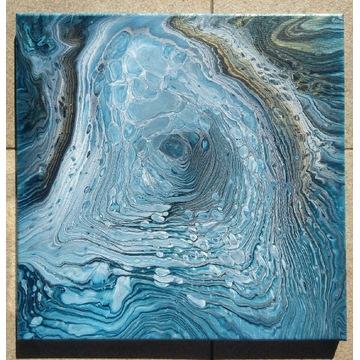 Obraz akrylowy 40x40 abstrakcja pouring złoto biel