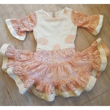 Sukienka MFL wizytowa 110-120wzrost koronka żakard