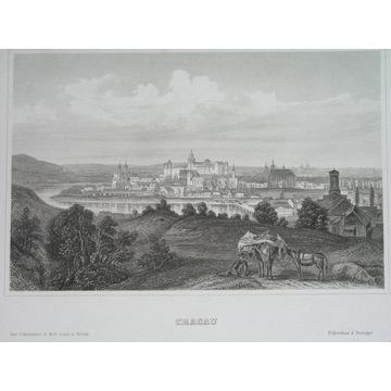 1852 POLSKA Galicja KRAKÓW panorama ORYGINAŁ