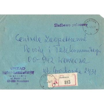 Małkinia - Koperty listów poleconych 1960-80