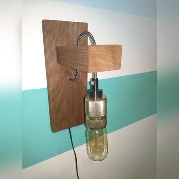Lampa drewniana, kinkiet vintage