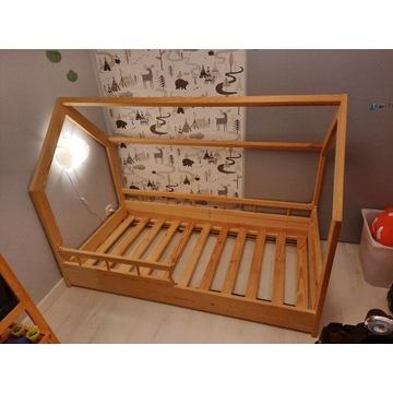Łóżko domek namiot trzy barierki sosna 80 x 160 cm