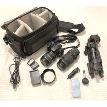 Canon EOS 350D+obiektywy Canona+statyw+torba+++