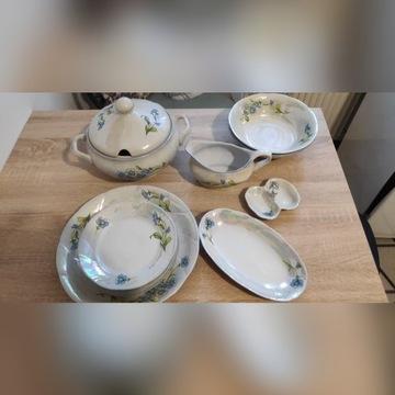 Komplet porcelanowy zestaw obiadowy  perłowy