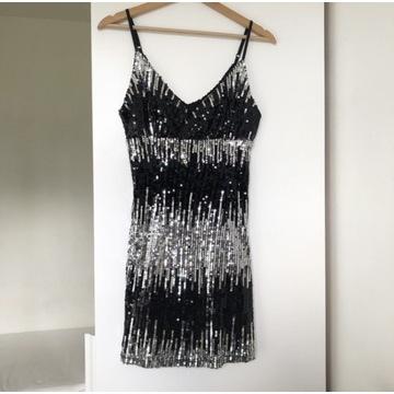 Cekinowa sukienka mini sylwester impreza