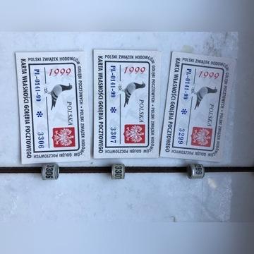 Obrączki dla gołębi -obrączki 1999 PL +karty
