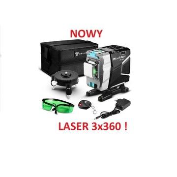 Laser krzyżowy 3x 360 ° 12 linii 3D DEKO zielony