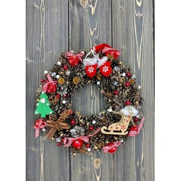 Piękny Świąteczny Wianek Boże Narodzenie 30 cm