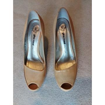 GINO ROSSI pantofle skóra roz.39,5