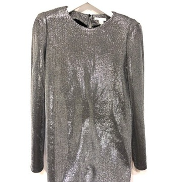 Sukienka, błyszcząca, srebrna, H&M, rozm L