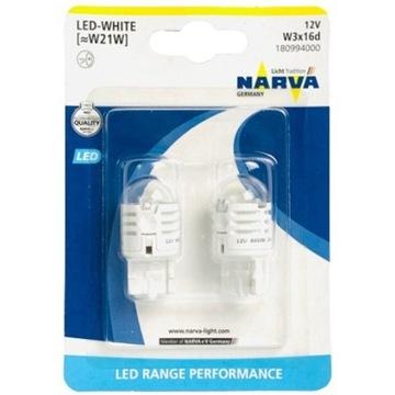 NARVA LED Żarówka W21W 12V Biała WHITE 2 szt