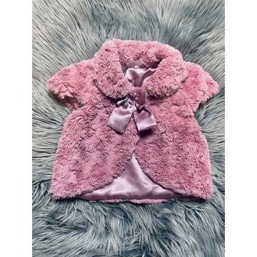 Kożuszek futerko kamizelka brudny róż 74 cm baby b