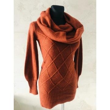 NOWY RESERVED golf tunika sweter rudy brązowy S 36