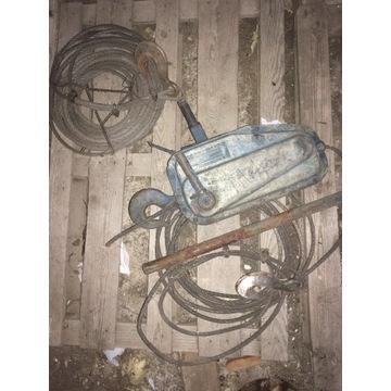 Wciąg wciągnik linowy 1500 kg + 2x liny z hakami