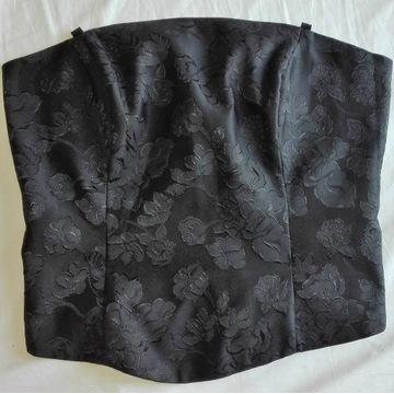 Elegancki czarny gorset w kwiaty rozm. 36/38 (S/M)