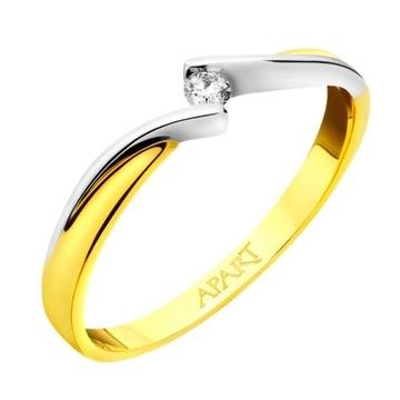 Pierścionek z żółtego i białego złota APART