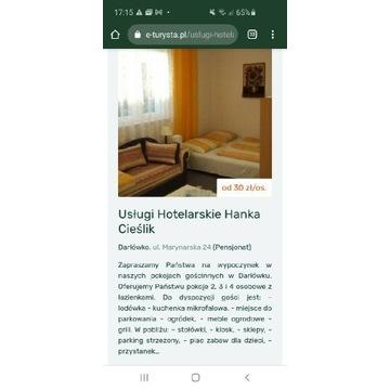 Pokoje gościnne w Darłówko, wczasy